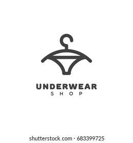 Underwear shop logo template design with a hanger. Vector illustration.