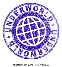 UNDERWORLD stamp watermark with distress texture. Blue vector rubber print of UNDERWORLD tag with dust texture. Seal has words placed by circle and planet symbol.
