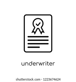 Underwriter (shares) icon. Trendy modern flat linear vector Underwriter (shares) icon on white background from thin line business collection, editable outline stroke vector illustration