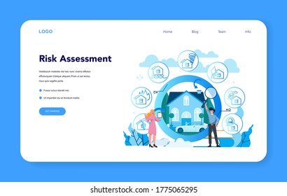 Underwriter web banner or landing page. Business insurance, financial payment in case of damage or financial loss. Idea of security and protection of property and profit. Vector illustration
