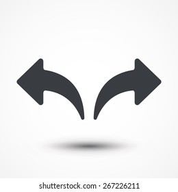 Undo Arrow Icon, Redo Arrow Icon. Direction arrow sign. Motion icon. Forward arrow icon. Back arrow icon. Arrow button. Curvy path