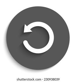 undo symbol   - vector icon with shadow on a round grey button