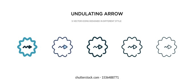 undulating arrow icon in different style vector illustration. two colored and black undulating arrow vector icons designed in filled, outline, line and stroke style can be used for web, mobile, ui