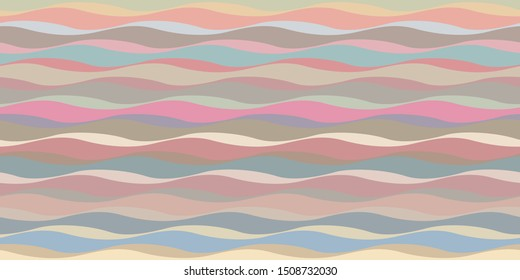 Undulating, parallel running, rhythmical wavy pattern with faded colors