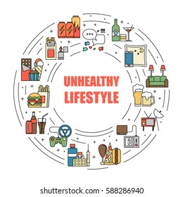 Unealthy lifestyle habits colorful line vector icons isolated. Fast junk food, bag habits, waste of time. Obesity and bad health circle illustration.