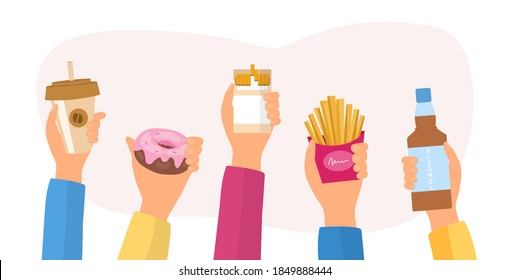 Unealthy lifestyle habits and obesity and bad health concept. Hands holding fast junk food, bad habits, waste of time. Flat cartoon vector illustration.