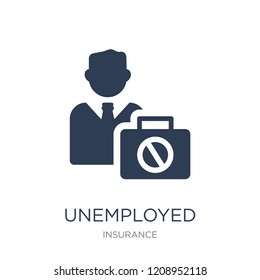 Unemployed icon. Trendy flat vector Unemployed icon on white background from Insurance collection, vector illustration can be use for web and mobile, eps10
