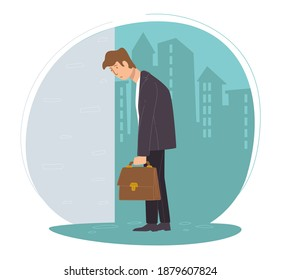 Unemployed male character sad to lose job. Man with briefcase, depressed employee got fired at work. Desperate personage on cityscape background. Unhappy expression of person. Vector in flat style