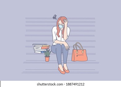 Unemployed people during coronavirus outbreak concept. Young sad unhappy unemployed businesswoman in face mask sitting on stairs feeling stressed after failure and laid off from work during pandemic