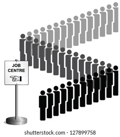 Unemployed people queuing at a job centre sign UK version