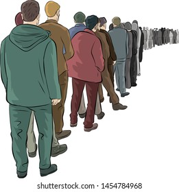 unemployed people waiting in line