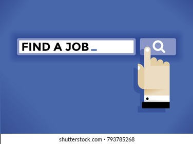Unemployed user hand cursor icon finding a job in internet. Idea - Employment, professional occupation and work searching etc.