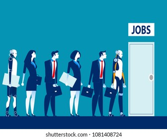 Unemployment the digital age. Competition of people and robot technology for jobs. Concept business technological revolution vector illustration