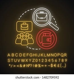 Unemployment neon light concept icon. Poverty idea. Joblessness. Jobless and unemployed people. Economy social problem. Workers rights. Glowing alphabet, numbers. Vector isolated illustration