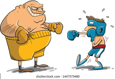 Unequal boxing match between diffrent size opponents