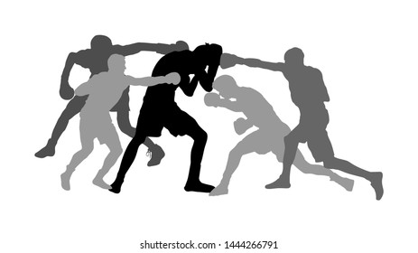 Unequal fighting vector silhouette. Alone against all, unfair hooligans fight. Angry terror. Street hitting and punching, bully crew abused man. Initiation to enter in gang. Cruel brutal punishment.