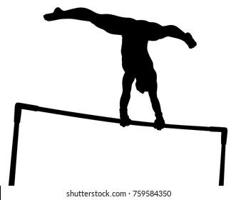 Uneven bars girl gymnast in artistic gymnastics black silhouette