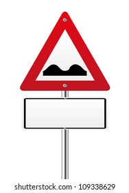 Uneven Road Sign on white