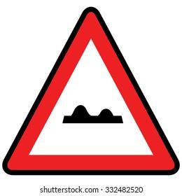 Uneven road sign. Vector Illustration.
