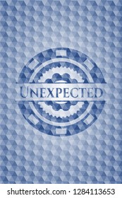 Unexpected blue emblem or badge with abstract geometric polygonal pattern background.