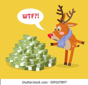 Unexpected wealth cartoon concept. Surprised horned reindeer standing under big pile of money with speak cloud flat vector on yellow background. For lottery winnings, business success illustrating