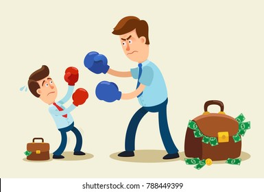 Unfair competition. Businessman in boxing gloves is fighting bigger businessman. Business competition concept. Vector cartoon illustration.