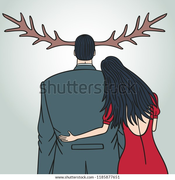 Unfaithful Wife Cheating On Her Husband Stock Vector