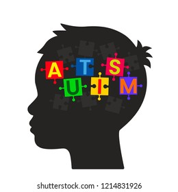 Unfinished puzzles in a child's head. The concept of children suffering from autism or Down Syndrome. flat vector illustration isolated on white background