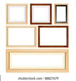 Unfinished wood frames set vector
