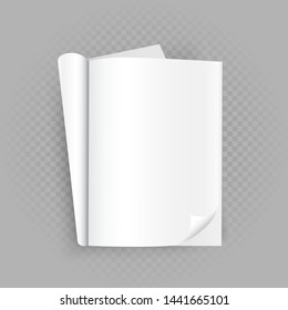 Unfolded opened white book template with shadow on transparent gray background. Read open magazine