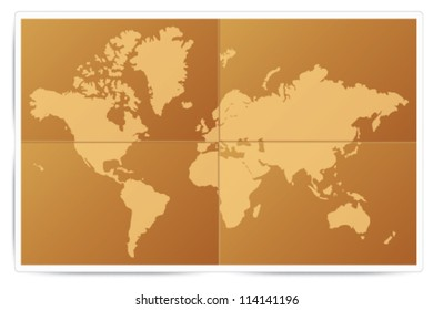 Unfolded parchment paper with world map