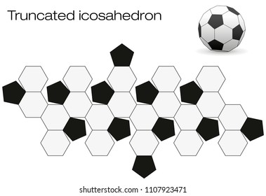 Unfolded soccer ball surface. Geometric polyhedron called truncated icosahedron, an Archimedean solid with twelve black pentagonal and twenty white hexagonal faces.