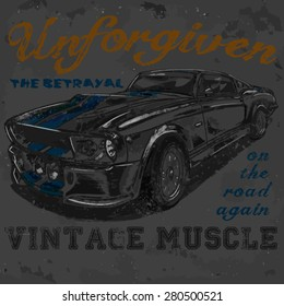 unforgiven vintage muscle car vector illustration t shirt graphic design