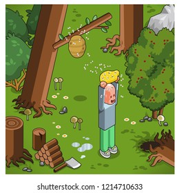 Unfortunate yelling man stealing honeycombs from a beehive in a forest (vector, isometric)