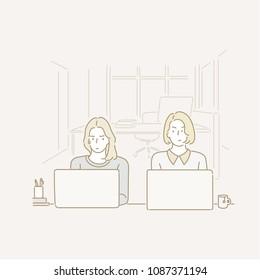 Unfriendly colleague next desk. hand drawn style vector doodle design illustrations.