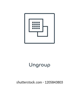 Ungroup concept line icon. Linear Ungroup concept outline symbol design. This simple element illustration can be used for web and mobile UI/UX.