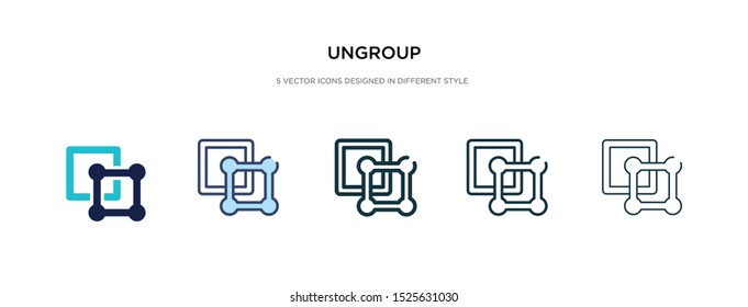 ungroup icon in different style vector illustration. two colored and black ungroup vector icons designed in filled, outline, line and stroke style can be used for web, mobile, ui