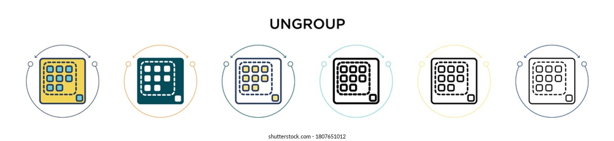 Ungroup icon in filled, thin line, outline and stroke style. Vector illustration of two colored and black ungroup vector icons designs can be used for mobile, ui, web