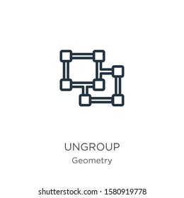Ungroup icon. Thin linear ungroup outline icon isolated on white background from geometry collection. Line vector sign, symbol for web and mobile