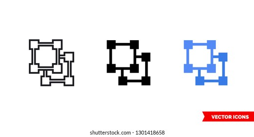 Ungroup objects icon of 3 types: color, black and white, outline. Isolated vector sign symbol.