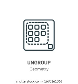 Ungroup outline vector icon. Thin line black ungroup icon, flat vector simple element illustration from editable geometry concept isolated stroke on white background