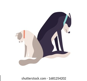 Unhappy abandoned cat and dog sitting together having sadness vector flat illustration. Depressed sad domestic animal feeling loneliness isolated on white. Two colorful upset homeless pet
