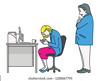 Unhappy boss or manager feel angry when he finds his female employee using smartphone, playing game and social network during working time at her desk. Line, linear, sketch style.