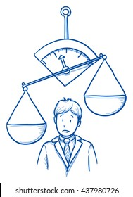Unhappy business man, with uneven scales. Concept for imbalance. Hand drawn line art cartoon vector illustration.