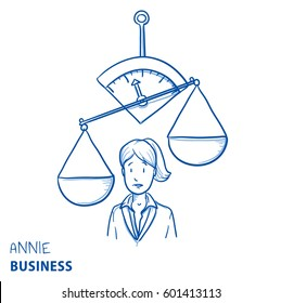 Unhappy business woman, with uneven scales. Concept for imbalance. Hand drawn line art cartoon vector illustration.