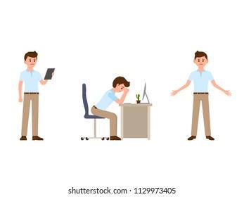 Unhappy businessman cartoon character. Vector illustration of upset clerk
