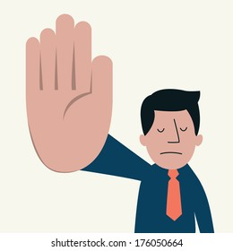 Unhappy businessman showing sign 'talk to the hand'. Communication feeling and emotional concept in displeased and want to say please shut up.