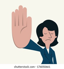 Unhappy businesswoman showing sign 'talk to the hand'. Communication feeling and emotional concept in displeased and want to say please shut up.