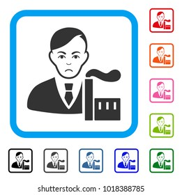 Unhappy Capitalist Oligarch vector pictograph. Human face has sadly expression. Black, gray, green, blue, red, orange color versions of capitalist oligarch symbol in a rounded rectangular frame.