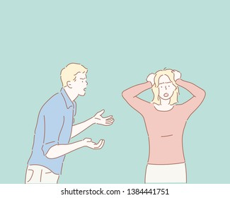 Unhappy couple arguing, upset woman tired of constant conflicts, addicted partner, bad relationships, frustrated girl ignoring boyfriend in anger. Hand drawn style vector design illustrations.